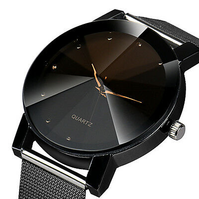 Womens Mens Leather Crystal Stainless Steel Watches Quartz Analog Wrist Watch