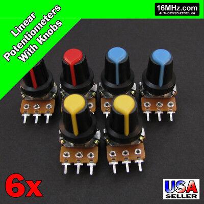 6x 10K OHM Linear Taper Rotary Potentiometers B10K POT with Black Knobs 6pcs U25