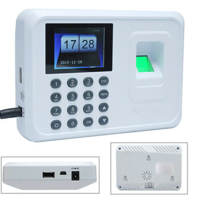 "Employee Fingerprint Recorder Attendance Clock Time Card Machine 2.4"" TFT I1X3"
