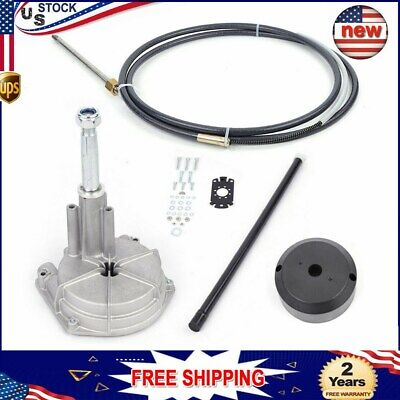 12ft Rotary Outboard Steering Kit Marine Safe-T Cable System Fish Boats Helm Kit