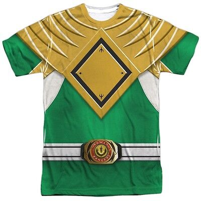 Power Rangers Green Emblem Logo Costume Outfit Uniform Sublimation Front T-shirt - Power Rangers Outfit