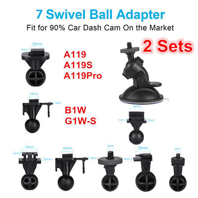 2x Suction Cup Mount Bracket + 7 Joints For HD 1080P Dash Cam A119 A129 G1W-C