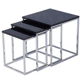 Vida Designs Charisma Square Chrome Modern Living Room Furniture Nest of Tables.....Brand New