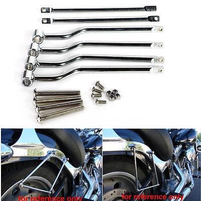 Silver Universal Motorcycle Refit Saddle bag Mounting Kit Support Bar Brackets