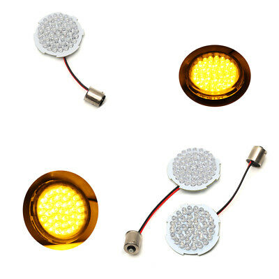 2'' Bullet Style Amber LED Turn Signal Inserts 1156  for Harley Davidson *New