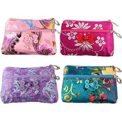 4pc Chinese Silk Brocade 2 Zipper Purse Jewelry Pouch Bag Value Set