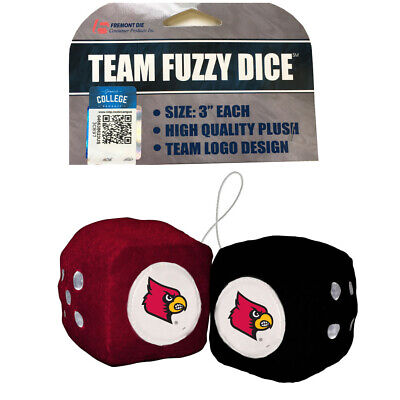 NCAA Louisville Cardinals Car Truck Rear View Mirror Plush Fuzzy Hanging Dice