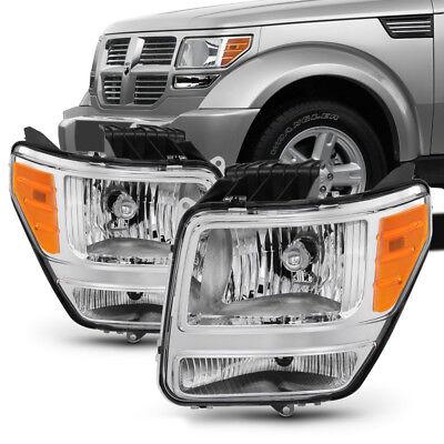 {FACTORY STYLE} 2007-2011 Dodge Nitro Chrome Housing Headlight Lamp Assembly SET