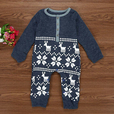 Xmas Deer Newborn Baby Boys Girls Warm Romper Jumpsuit Bodysuit Clothes Outfits