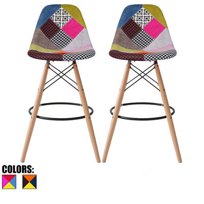 Set of 2 Modern Contemporary Counter Height Stool Pub Chairs Eiffel Wood Leg