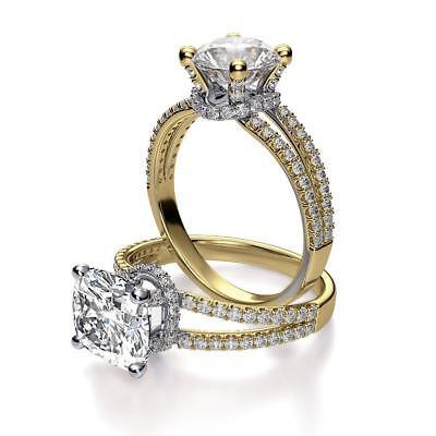 Natural Cushion Cut Cut Split Shank Collar Pave Diamond Engagement Ring - GIA  1