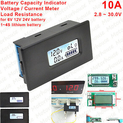 - 10A Digital Lithium Li-ion Battery Capacity Indicator Meter Voltage Current 12V