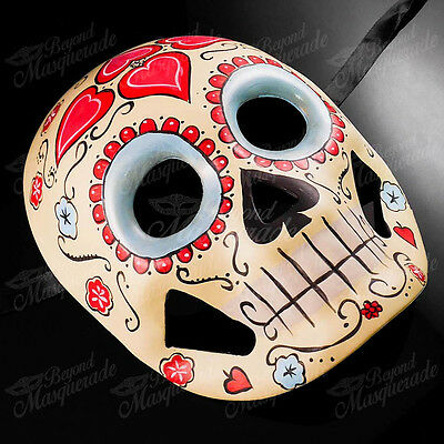 Womens Day of the Dead Skeleton Skull Halloween Masquerade Mask Red Hearts