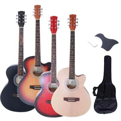 """New 4 Colors 40"""" Adult 6 Strings Cutaway Folk Acoustic Guitar Red with Bag"""