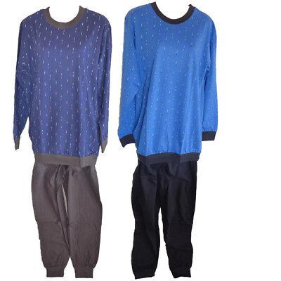 Navy Baumwolle Pyjama (Herren Pyjama Schlafanzug Langarm blau navy Baumwolle Gr. 48 50 52 54 56 58)