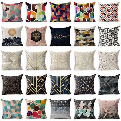 Abstract Geometric Cotton Linen Throw Pillow Case Sofa Cushi