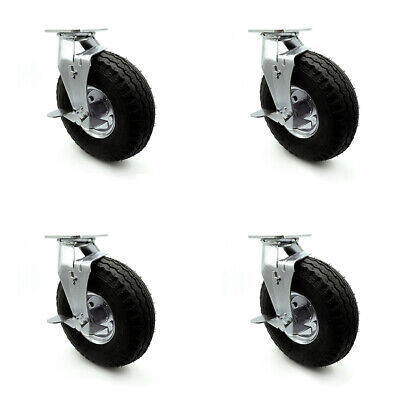 Scc 10 Blk Pneumatic Wheel Swivel Casters Wbrakes Bolt On Swivel Locks-set 4