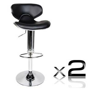 Set of 2 PU Leather Kitchen Bar Stool Black North Melbourne Melbourne City Preview