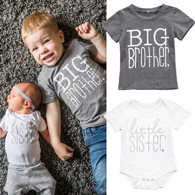 - New Kids Baby Boys Girls Toddler Big Brother Tops T-shirt Little Sister Romper