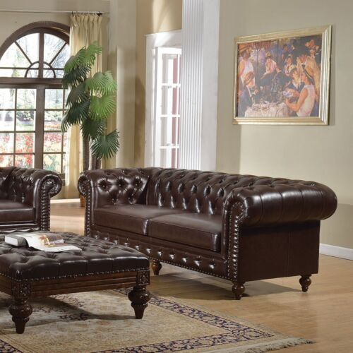 New 2pc Sofa Set Traditional Dark Brown Tufted Rolled Arm Couch Sofa & Loveseat