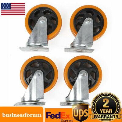 Lot Of 4 Heavy Duty 5 Inch Caster Plate Polyurethane Swivel Wheels Usa Stock