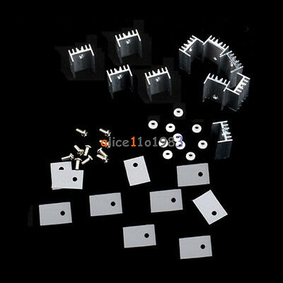 5pcs To-220 Silver Heatsink Heat Sink For Voltage Regulator Or Mosfet