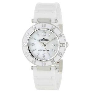 Anne klein 10 9417wtwt women 039 s swarovski crystals white ceramic mop dial watch ebay for Anne klein swarovski crystals