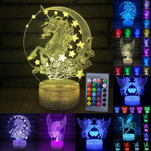 LED Nachtlicht Nachttischlampe Nachtleuchte 3D Einhorn Kinderzimmer Deko Lampe