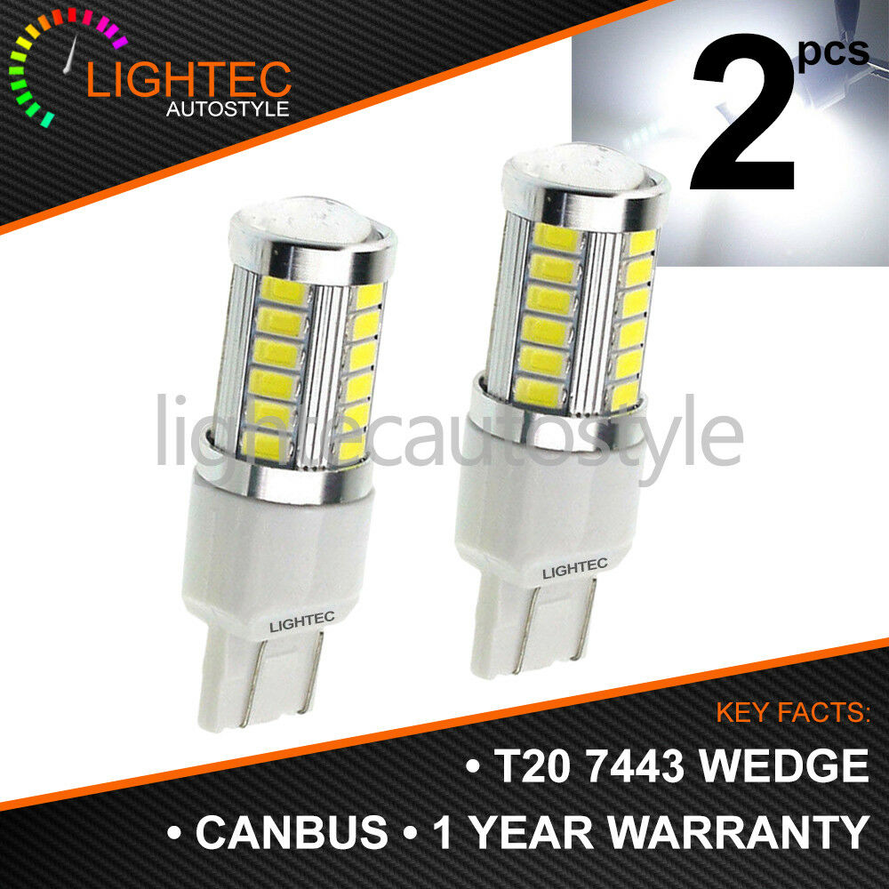 Kit 20W T20 7443 CSP LED Canbus White DRL Sidelight Bulbs W21//5W Dual Filament