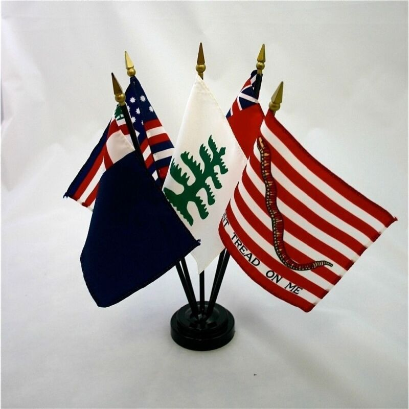 """Colonial Series #2 Miniature 5 Flag Historical Desk Flag Set with Base 4"""" X 6"""""""