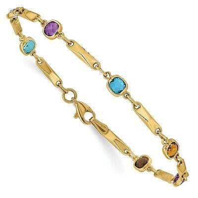 14k Yellow Gold Multi Gemstone Link Bracelet Fine Jewelry Women Gifts Her 2