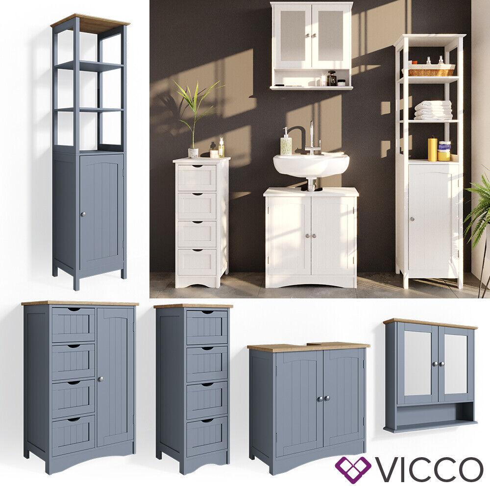 Vicco Badmöbel Bianco Spiegelschrank Waschtischunterschrank Badschrank Weiß Grau