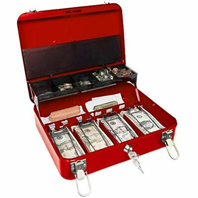 Certus Global Large Red Cash Box With Money Tray Secure Lock Cantilever Coin 4
