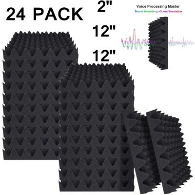 "24 Pack Acoustic Foam Panels Egg Crate Soundproofing 2""X 12"" X 12"" Studio Tiles"