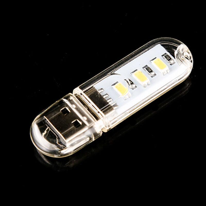 1PC White Mini Portable Bright 3 LED Night Light USB Lamp for PC Laptop Reading