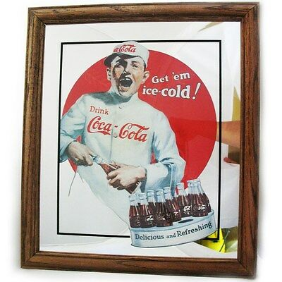 VINTAGE Coca Cola Ad Coke Advertisement Logo Bar Mirror Glass Decor Wood Frame