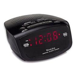 Westclox Red LED Display Dual Alarm Clock Radio with Easy Set Radio Tuning 80209