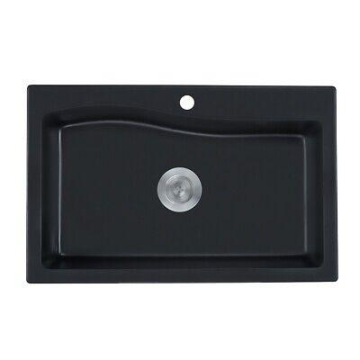 Modern 30 Inch Granite Single Bowl Kitchen Sink Drop-in Washing Basin in Black