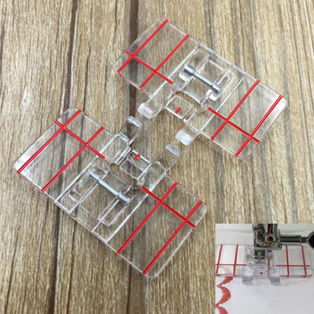 Clear plastico Parallel Stitch Foot Presser For Home Sewing Machine Domestic HAH