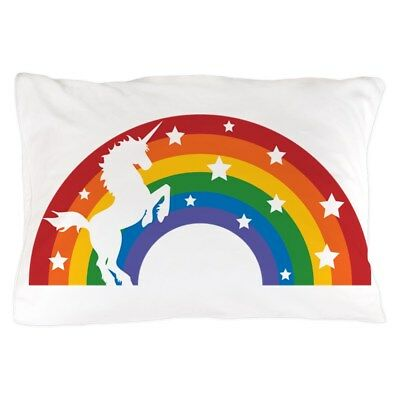 CafePress Retro Rainbow Unicorn Standard Size Pillow Case, 2