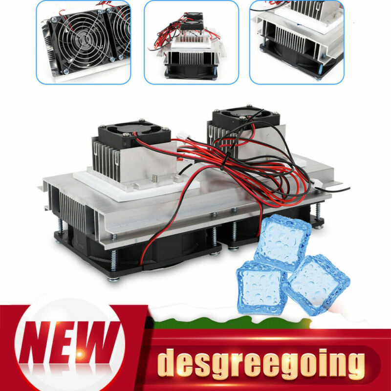 12V Thermoelectric Peltier Refrigeration Cooling System Air Cooler Fan DIY 140W