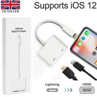 Lightning to HDMI Digital TV AV Adapter Cable Applie iPhone iPad 5 6 7 8 Plus X