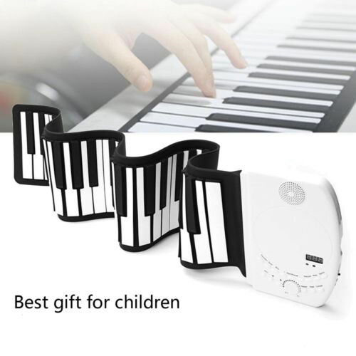 Flexible Piano Keyboard Soft 61 Keys Electric Wire Roll Up P