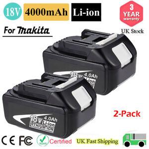 2x For 18V Makita BL1840 18 Volt 4.0Ah LXT Li-Ion Cordless Battery BL1860 BL1850