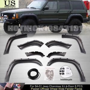 For 84-01 Jeep Cherokee XJ 4-Door 8 PCS Pocket Offroad Wheel Wide Fender Flares