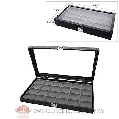 Glass Top Jewelry Organizer Display Case 24 Compartment Gray Insert Travel