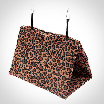 Nylon Bird Pet Hammock Hanging Bed Cave Cage Snuggle Toy S Leopard