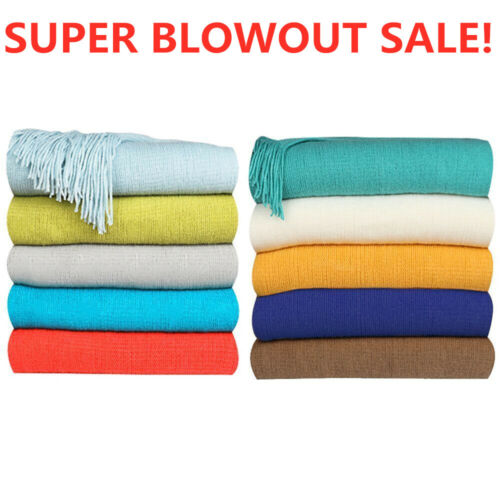 Soft Warm Knit Throw Blanket Sofa Settee Couch Cover Solid C