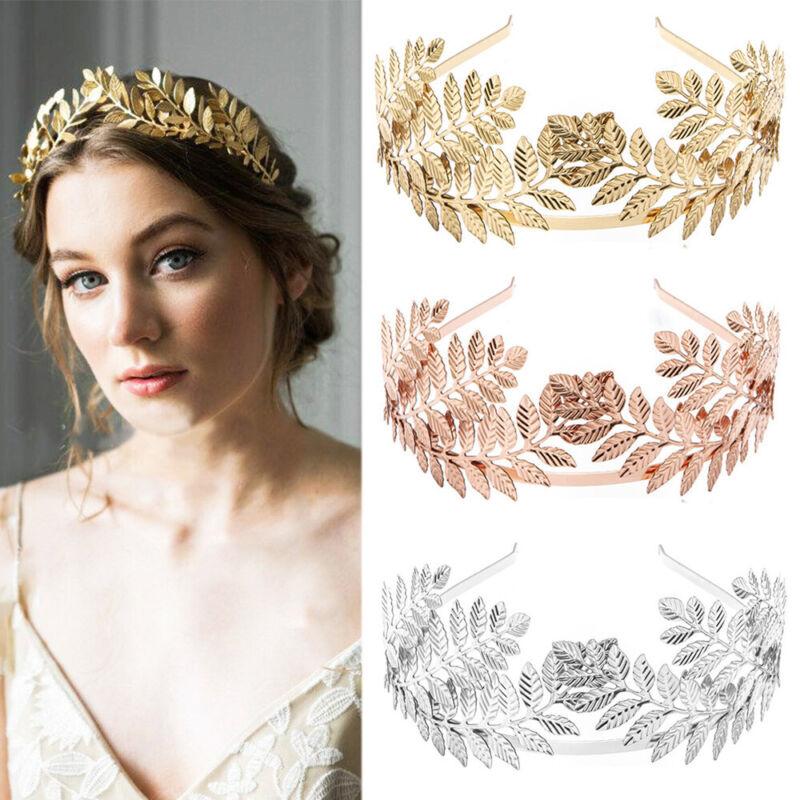 Alloy Leaves Wedding Tiara Headband Hair Clips Bride Crown H