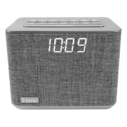 iHome Bluetooth Dual Alarm FM Clock Radio USB Charge Grey Speakers and Alarm